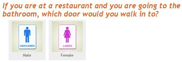 If you are at a restaurant and you are going to the bathroom, which door would you walk in to?