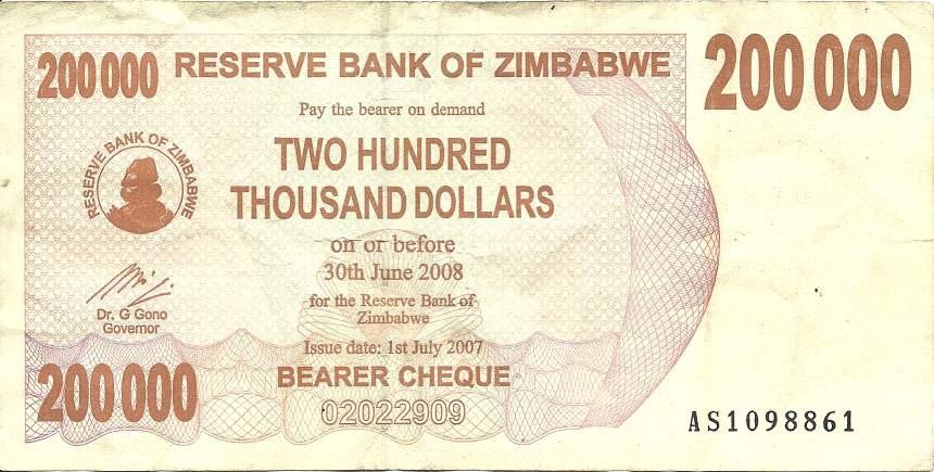 200000 Zimbabwean dollars banknote