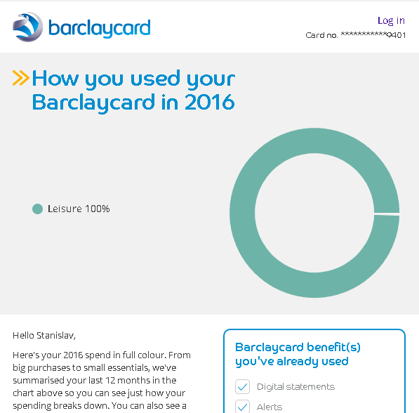 Barclaycard annual summary - leisure