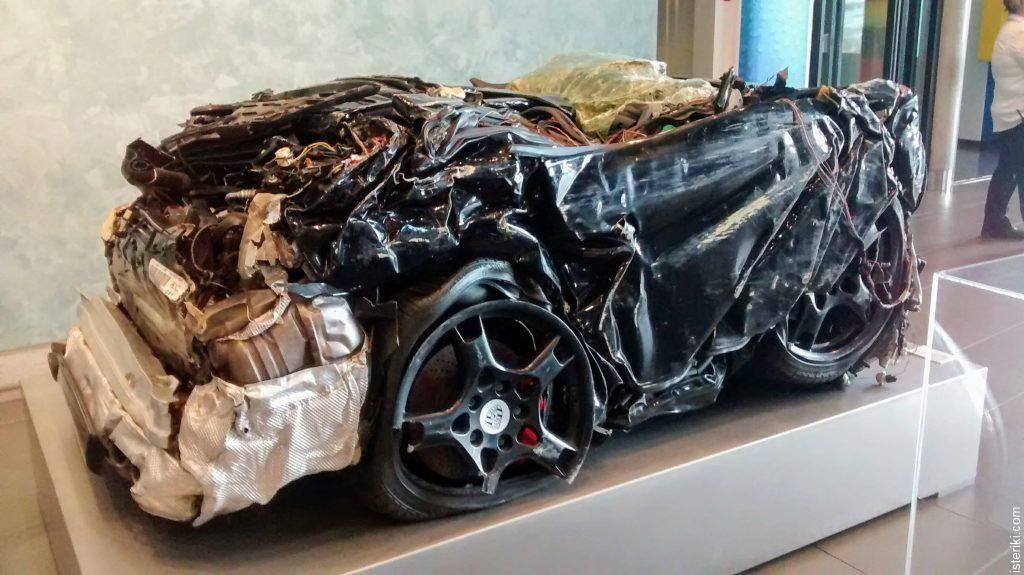 Squashed Porsche car