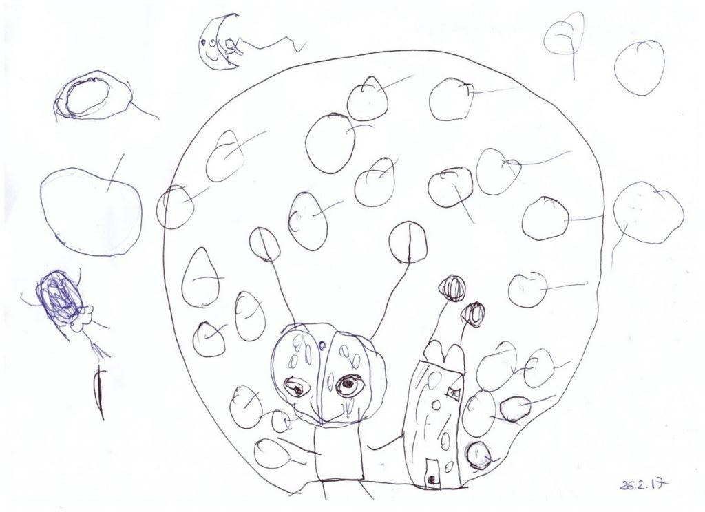 """Детский рисунок """"Инопланетянин пылесосит свой дом"""""""